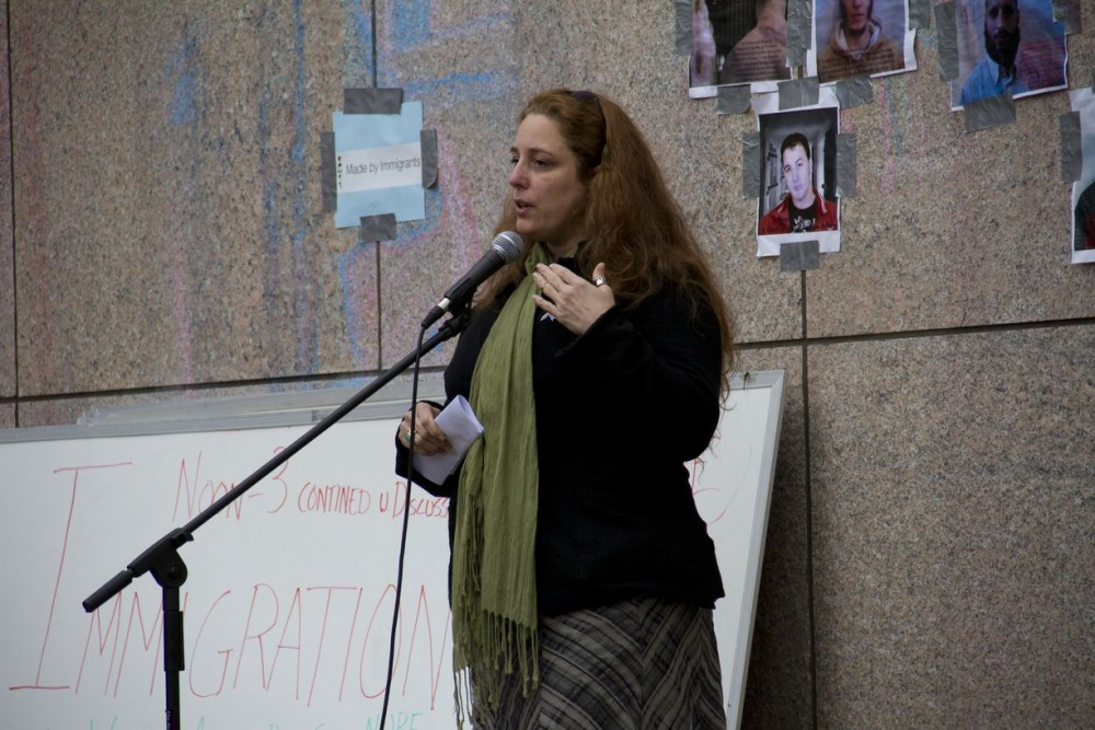 <p>Tania Bruguera, <em>Immigrant Movement International.</em> Presentation organized by Experience Economies as a part of the Free School University Immigration Forum, 2011. Occupy Boston. Photo: Scott Berzofsky.</p>
