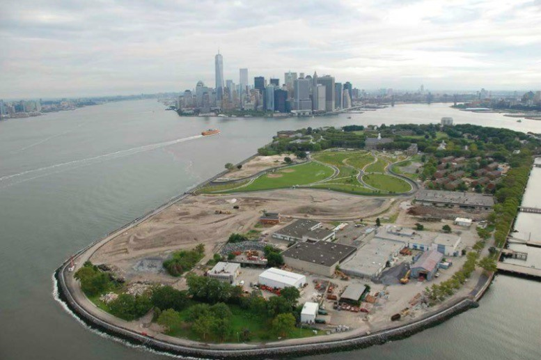 <p>Aerial view of Governors Island with Lower Manhattan in background, 2014. Photo courtesy of The Trust for Governors Island.</p>