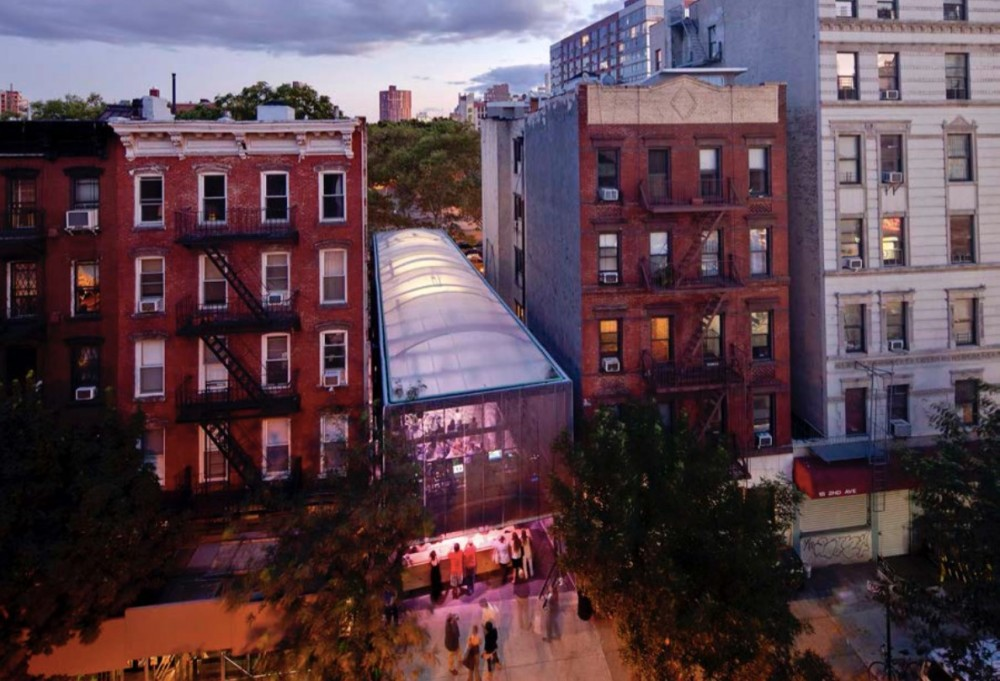 <p>BMW Guggenheim Lab, New York City. Design architect: Atelier Bow-wow. Exterior view from First Street at dusk. Photo: David Heald © 2011 Solomon R. Guggenheim Foundation.</p>