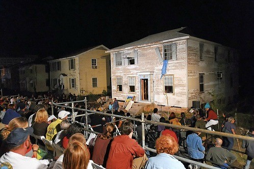 <p>Performance view in Gentilly. Paul Chan, <em>Waiting for Godot in New Orleans,</em> 2007. New Orleans. Photo: Donn Young and Frank Aymami.</p>