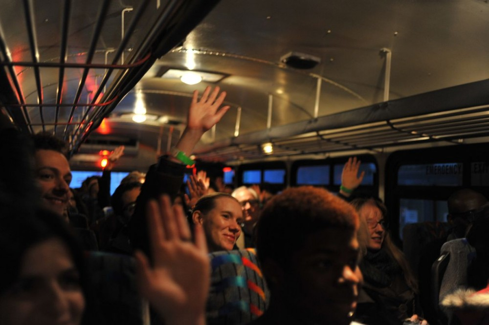 <p><em>Experience Economies 6: Innovate or Die,</em> 2012. Bus Tour, Cambridge and Boston, MA. Photo: David DiMaria.</p>