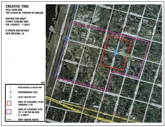 <p>Street closure plan in the Lower Ninth by Gavin Kroeber, 2007.</p>