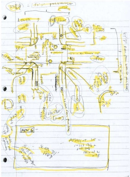 <p>Drawing for staging Lower Ninth Godot by Gavin Kroeber, 2007, pen and pencil on paper.</p>