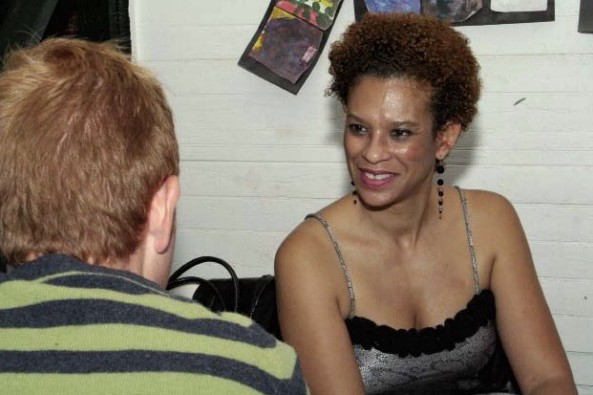 <p>Dan Etheridge and Troi Bechet at The Porch potluck dinner for cast and crew of <em>Godot</em>, 2007. Photo: Tuyen Nguyen.</p>