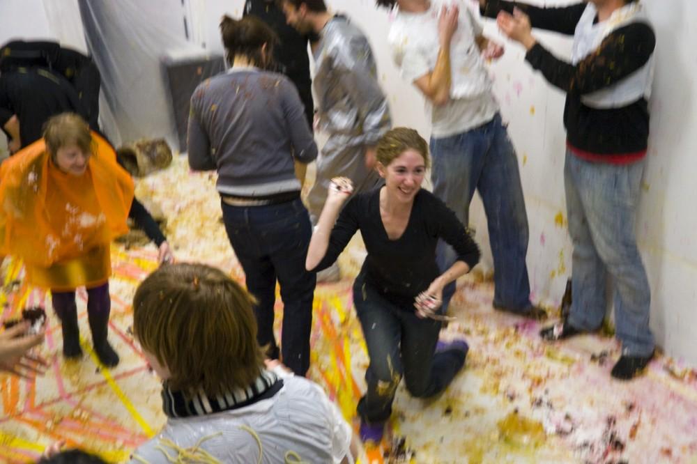 <p>Caitlin Berrigan, <em>Spectrum of Inevitable Violence</em> (work in progress). Presented as a part of <em>Experience Economies 2: Class Warfare</em>, 2010. Meme Gallery, Cambridge, MA.</p>
